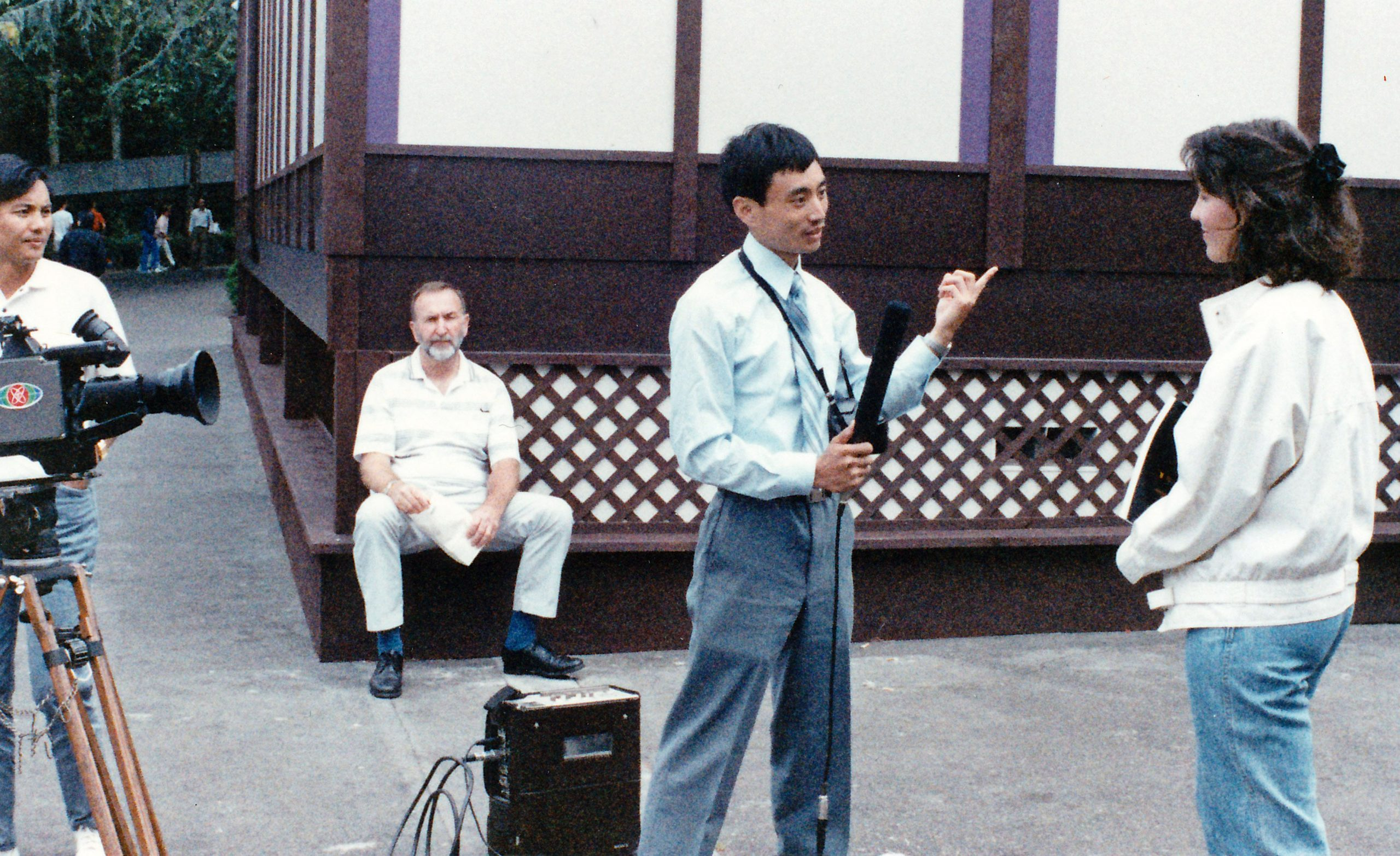 "Chinese TV interviews me for ""Son of Heaven"" exhibit, 1988 (Seattle)."