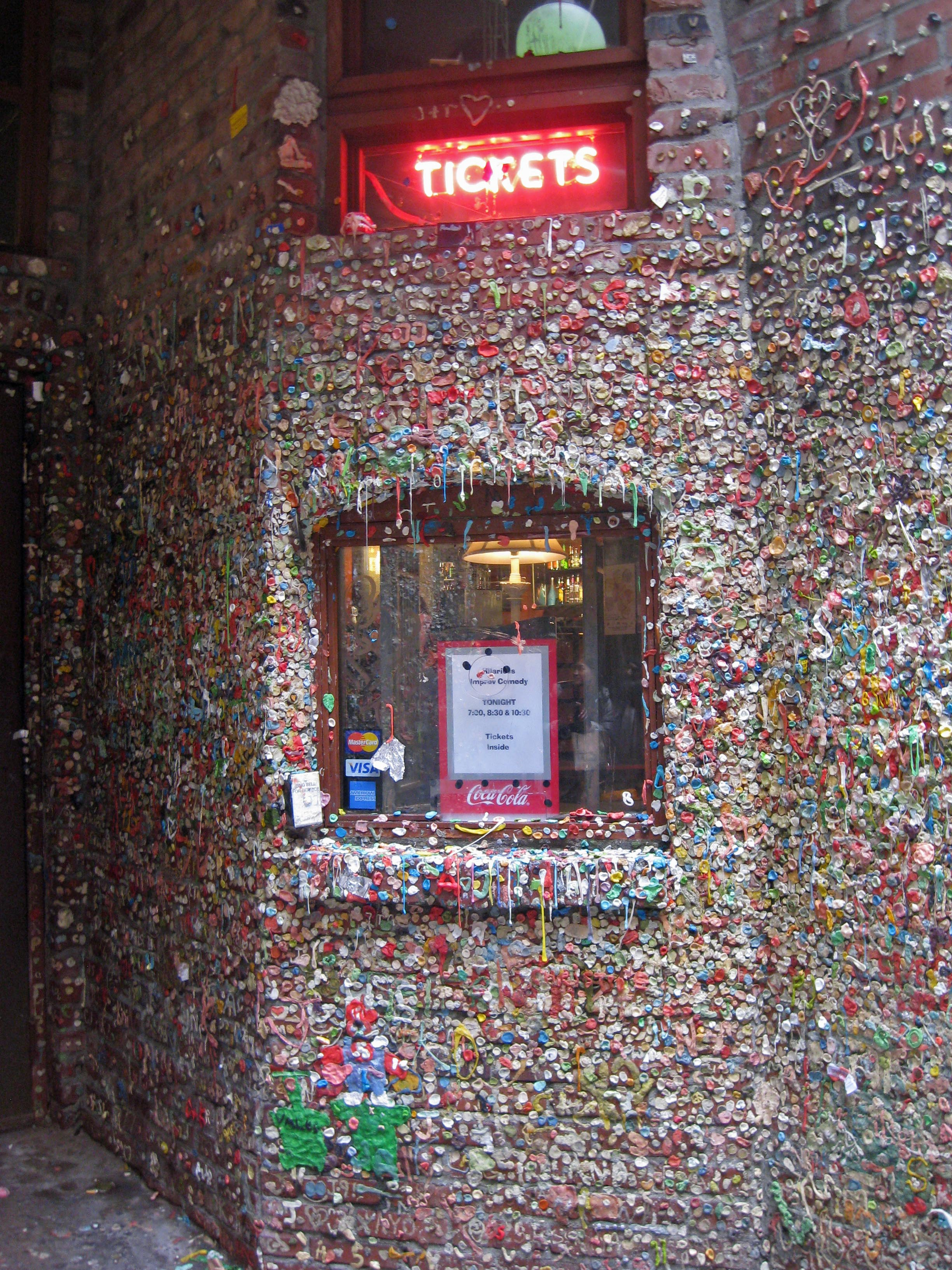 A sticky situation, buying tickets at Market Theater – now covered in chewing gum <br /><p id=