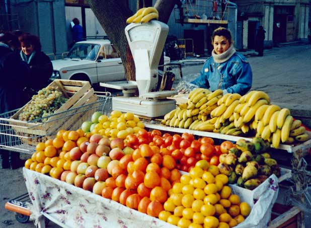 Moscow, Russia, fruit, bananas, fruit stand
