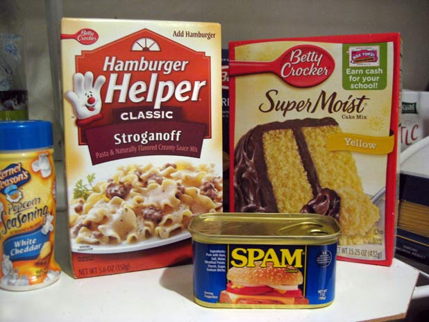 Hamburger Helper, instant cake mix, Spam: 79 ingredients and counting Photo credit: Holter Family Collection