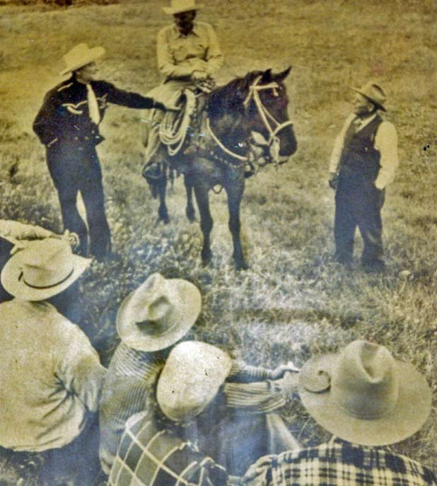 My Grandpa Lute, relatives, and buddies work a Montana cattle roundup in 1951 <br /><p id=