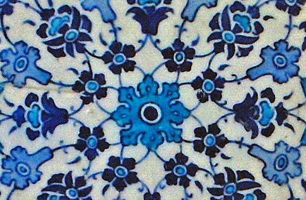 Ubiquitous blue Turkish tiles in Turkish baths, this one in Istanbul