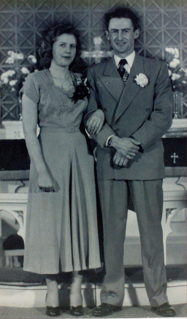 My parents' wedding day. She 21, he 25. (Dec 23, 1950 – Glasgow, Montana)