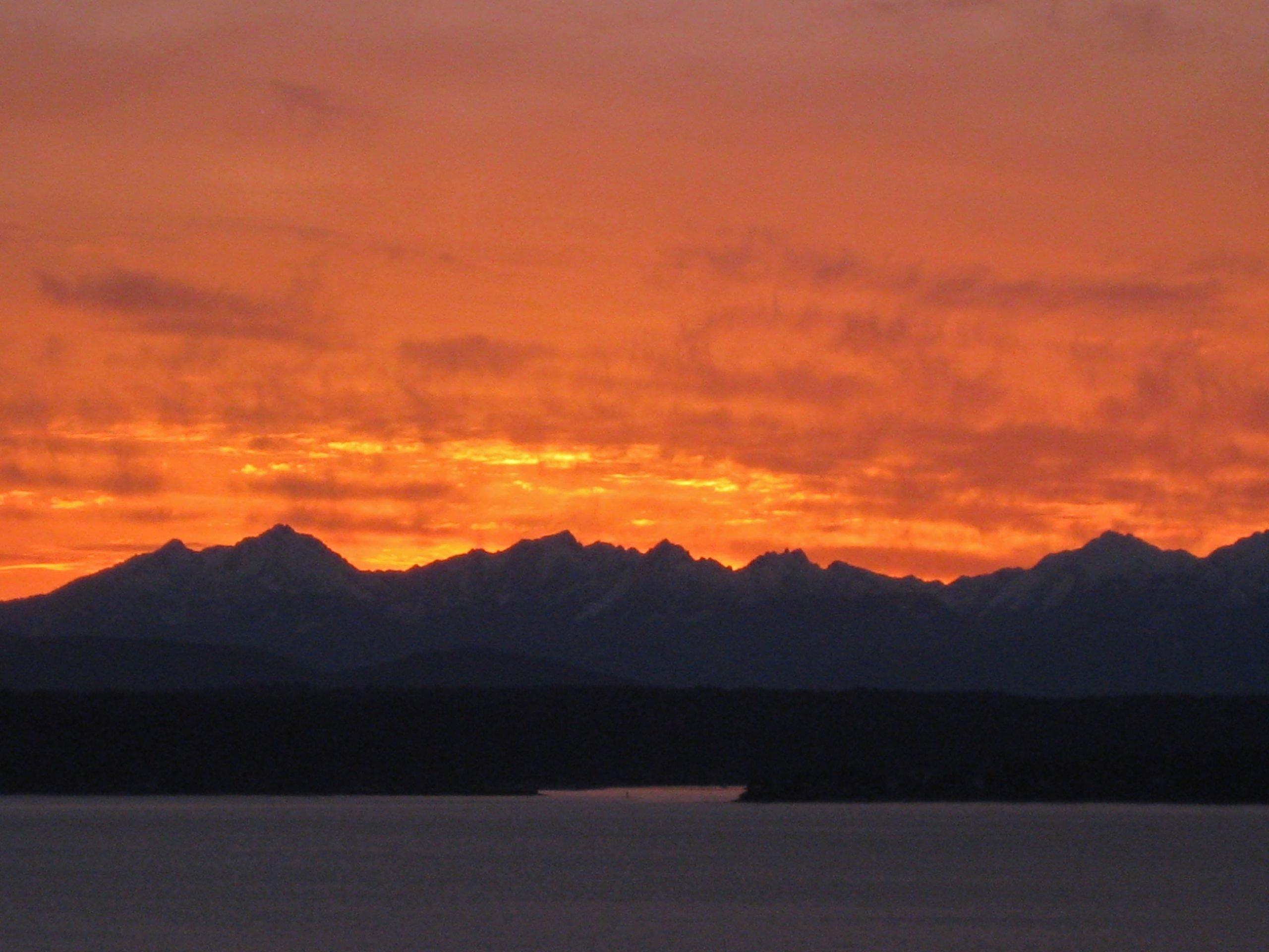 Seattle sunset, winter.