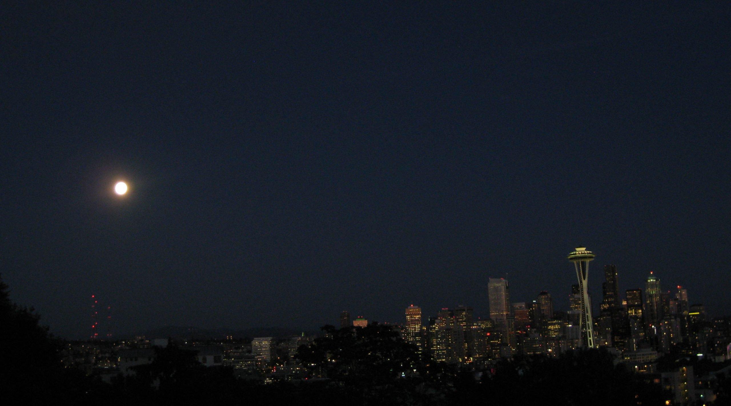 Space Needle blue moon