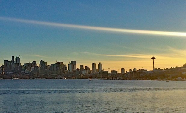 January 1, 2018: the ever-changing Seattle skyline against a New Year's Day sunset Photo credit: Helen Holter